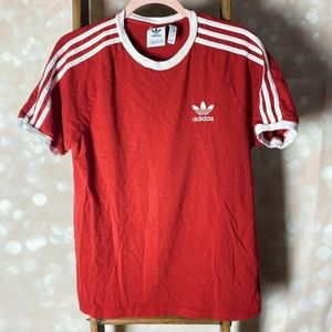 Adidas Red and White Tee 100% Cotton